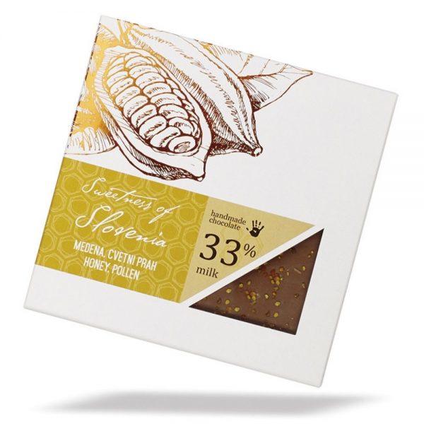 Čokoladna darila mlečna čokolada z medom in cvetnim prahom Slovenska čokolada