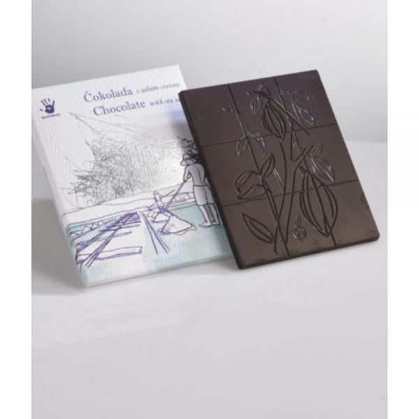Čokoladna darila temna čokolada s piranskim solnim cvetom slovenska čokolada