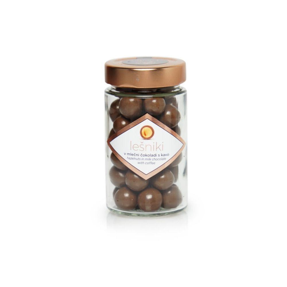 Čokoladne kroglice lešniki v mlečni čokoladi s kavo