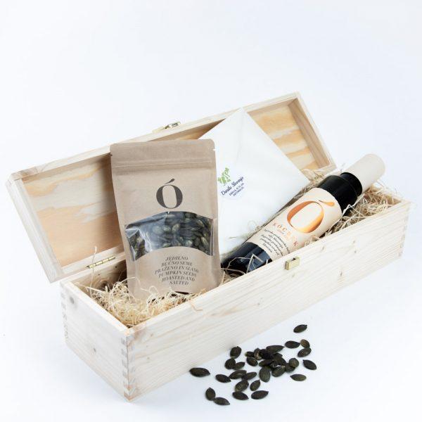 Darilna lesena škatla bučno olje bučna semena