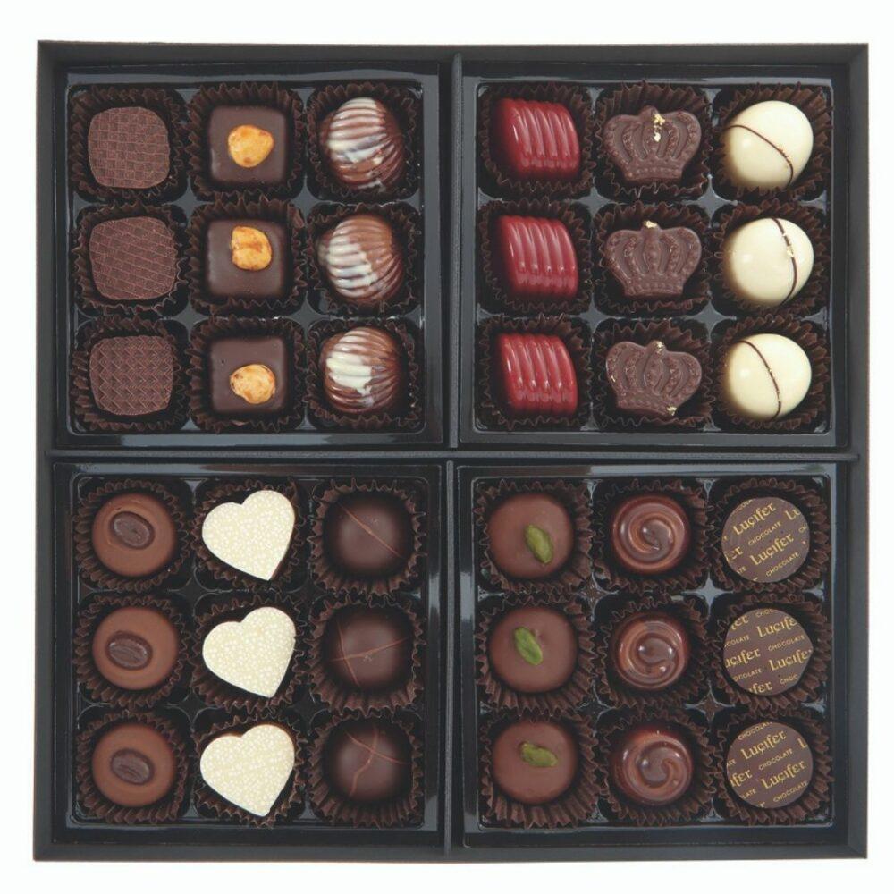 Bonboniera Lux 6×6, 36 čokoladnih pralin - 800g